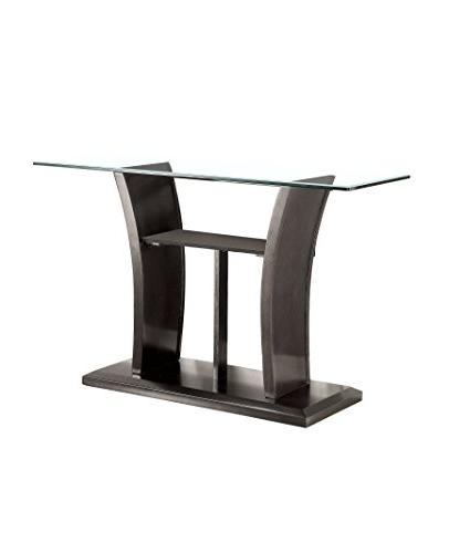 lantler glass console table gray