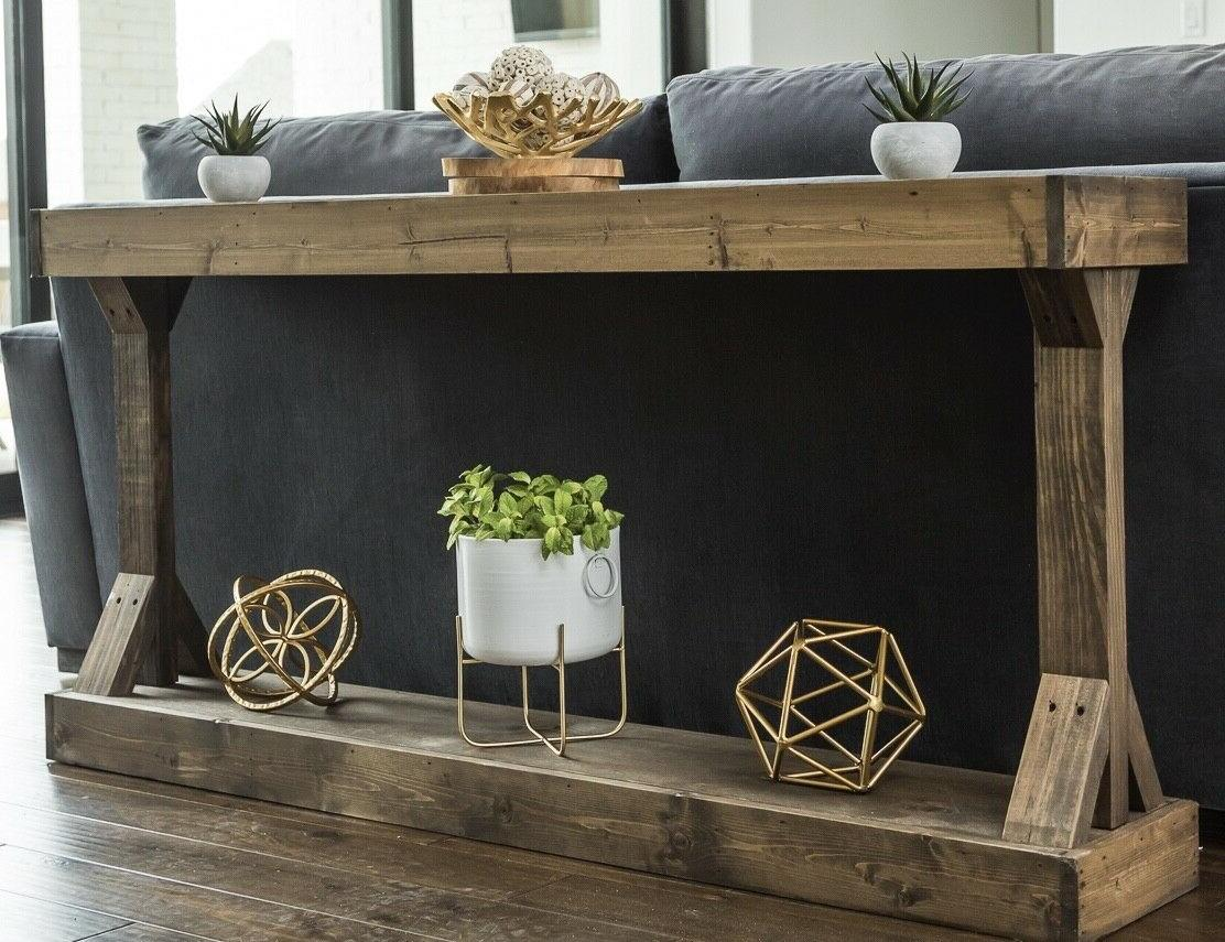 Large Console Table Farmhouse Walnut Solid Wood Rustic Count
