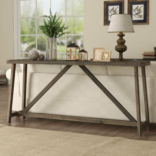 Simple Wooden Sofa Table Rustic Console Table for Living Roo