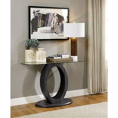 mason gray console table with clear glass