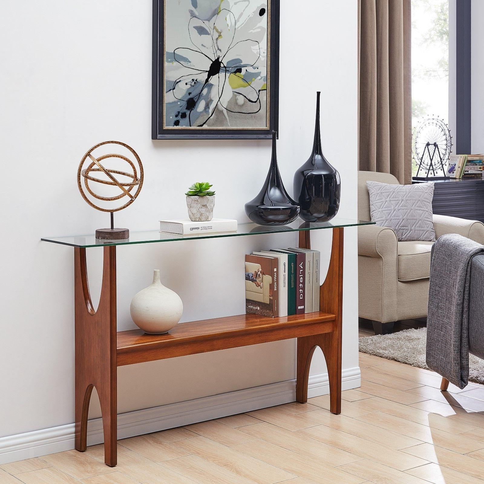 met37071 glass top console table midcentury modern