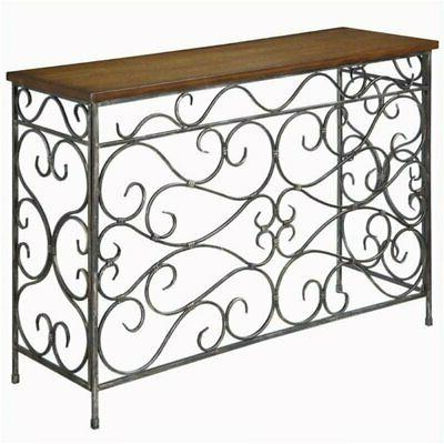 metal console table in antique black