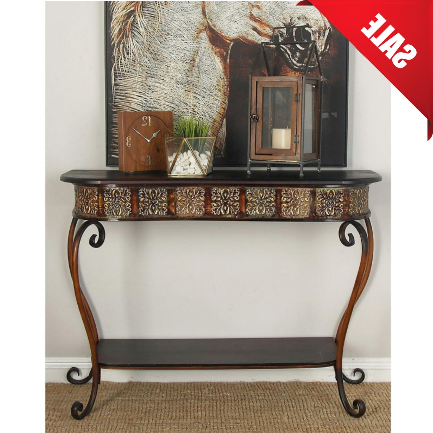 metal wood console table 32