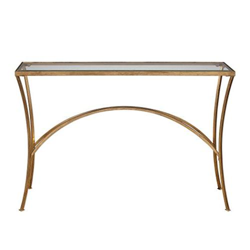 "Uttermost Alayna - 48"" Console Gold Leaf Finish Clear Glass"