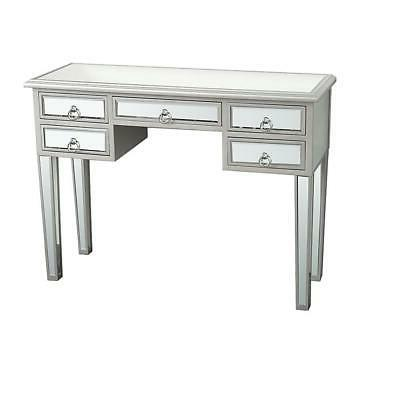 Modern Console Makeup Silver Finish Drawer