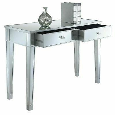 modern 2 drawers mirrored console table silver