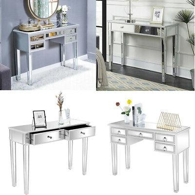 mirrored vanity table console mirror glam drawers
