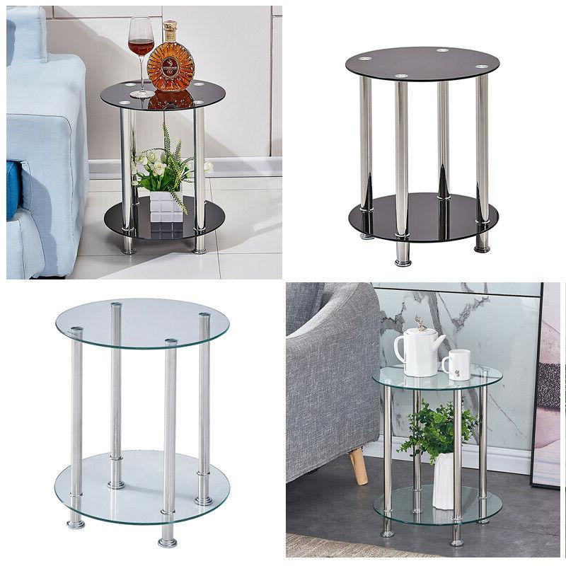 modern 2 tier round glass end tables