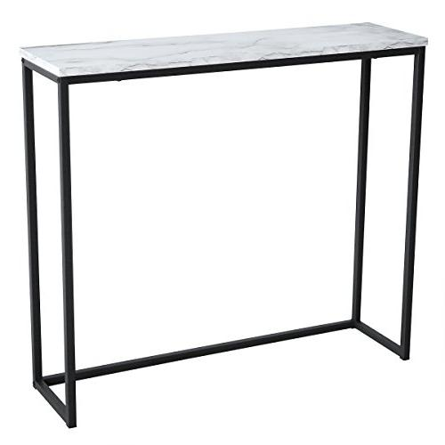 modern accent faux marble console