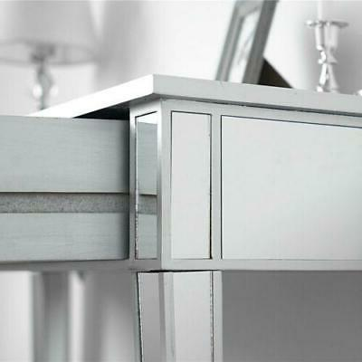 Modern Console Mirrored Makeup Silver Drawer