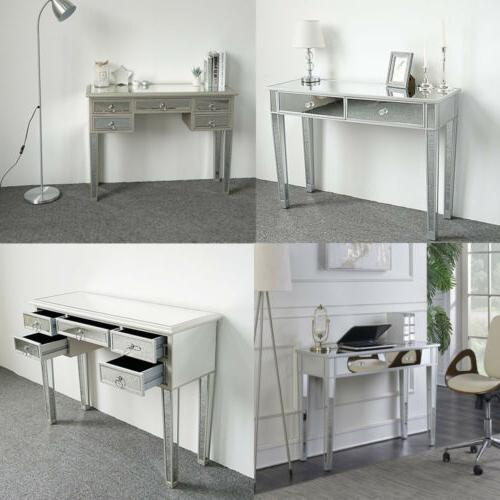 modern contemporary mirrored glass accent console table