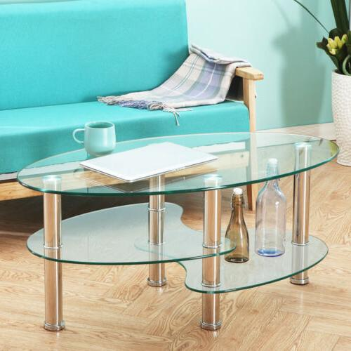 Modern Oval Side Table Shelf Chrome Furniture