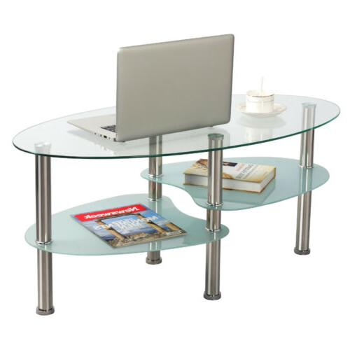 Modern Glass Top Oval Side Coffee Shelf Chrome Furniture