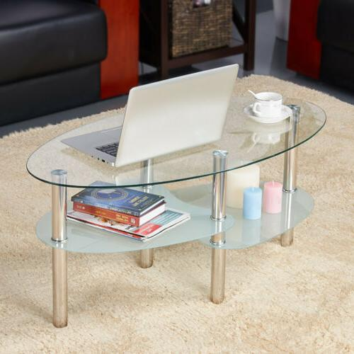 modern glass top oval side coffee table