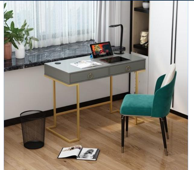 Modern Table Makeup Laptop Console Drawers Gold Glam Bedroom