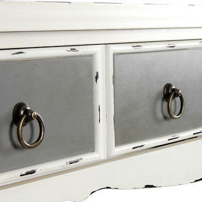 Modern Drawer Console in Distressed White Finish