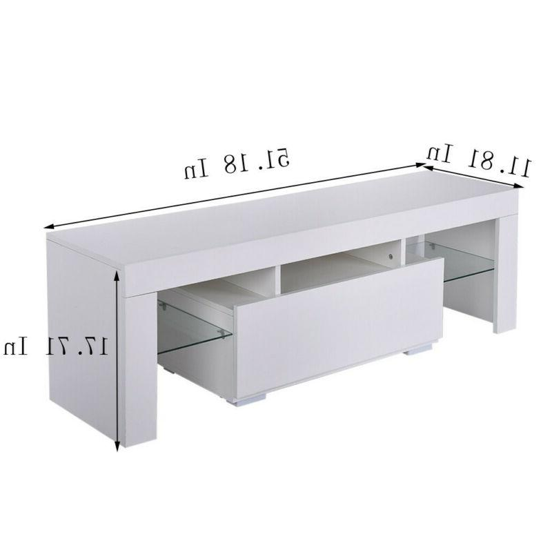Modern White 51'' Stand Unit w/ LED Light Console Table