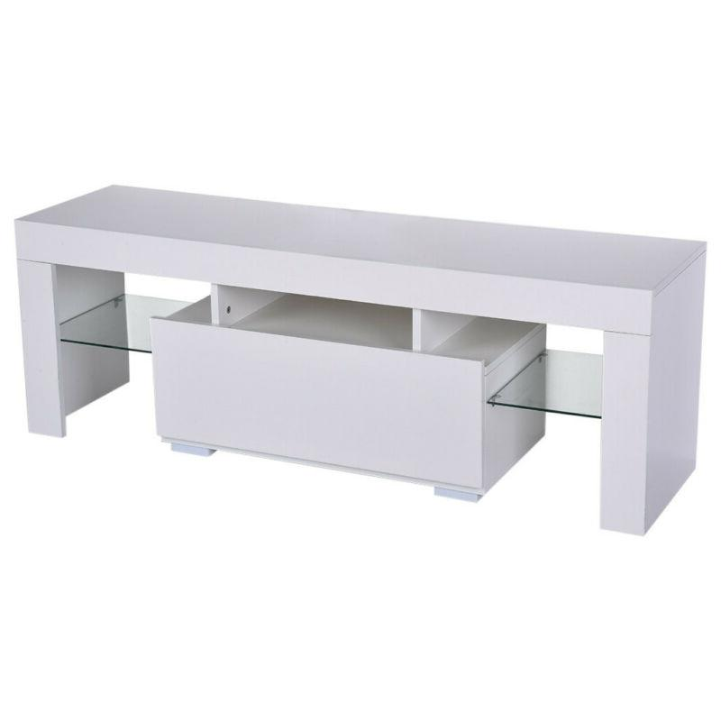 Modern White Stand Cabinet LED Console Table