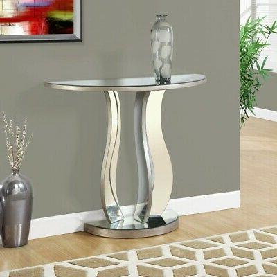 narrow console table mirrored half oval moon