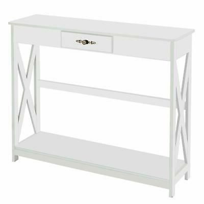 Modern White Hall Console Table Drawer