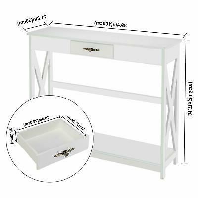 Modern White Hall Table with Drawer