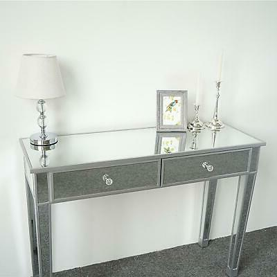 Modern 2-Drawers Mirrored Console Table Silver Table Furniture