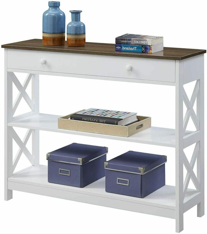 Convenience Oxford 1 Drawer Console Table, / White