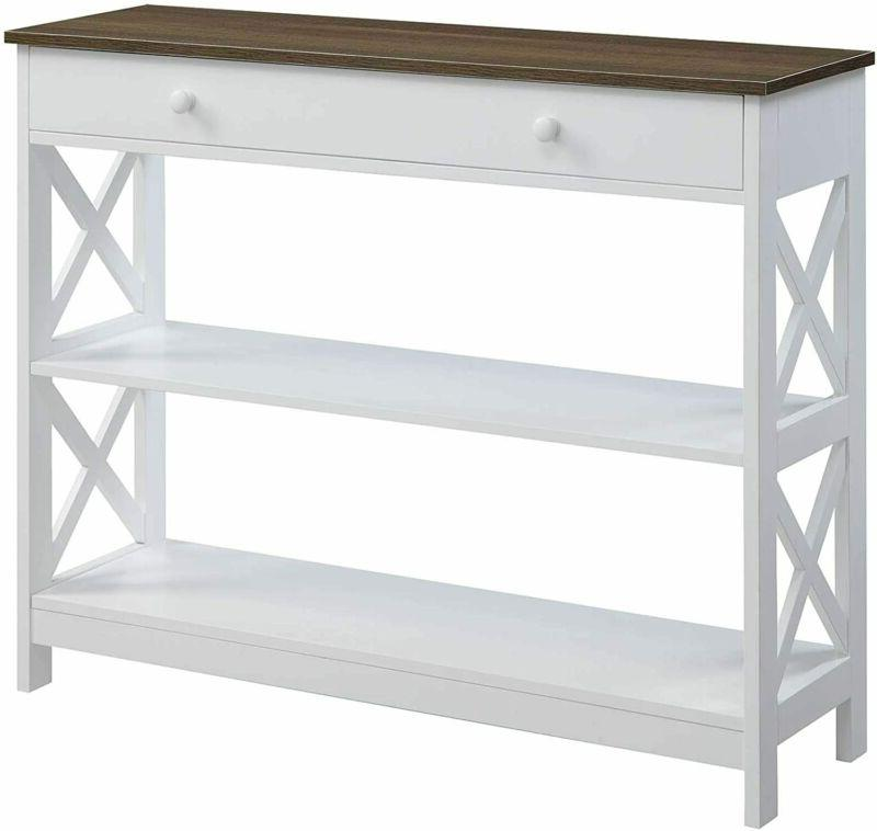 oxford 1 drawer console table driftwood white