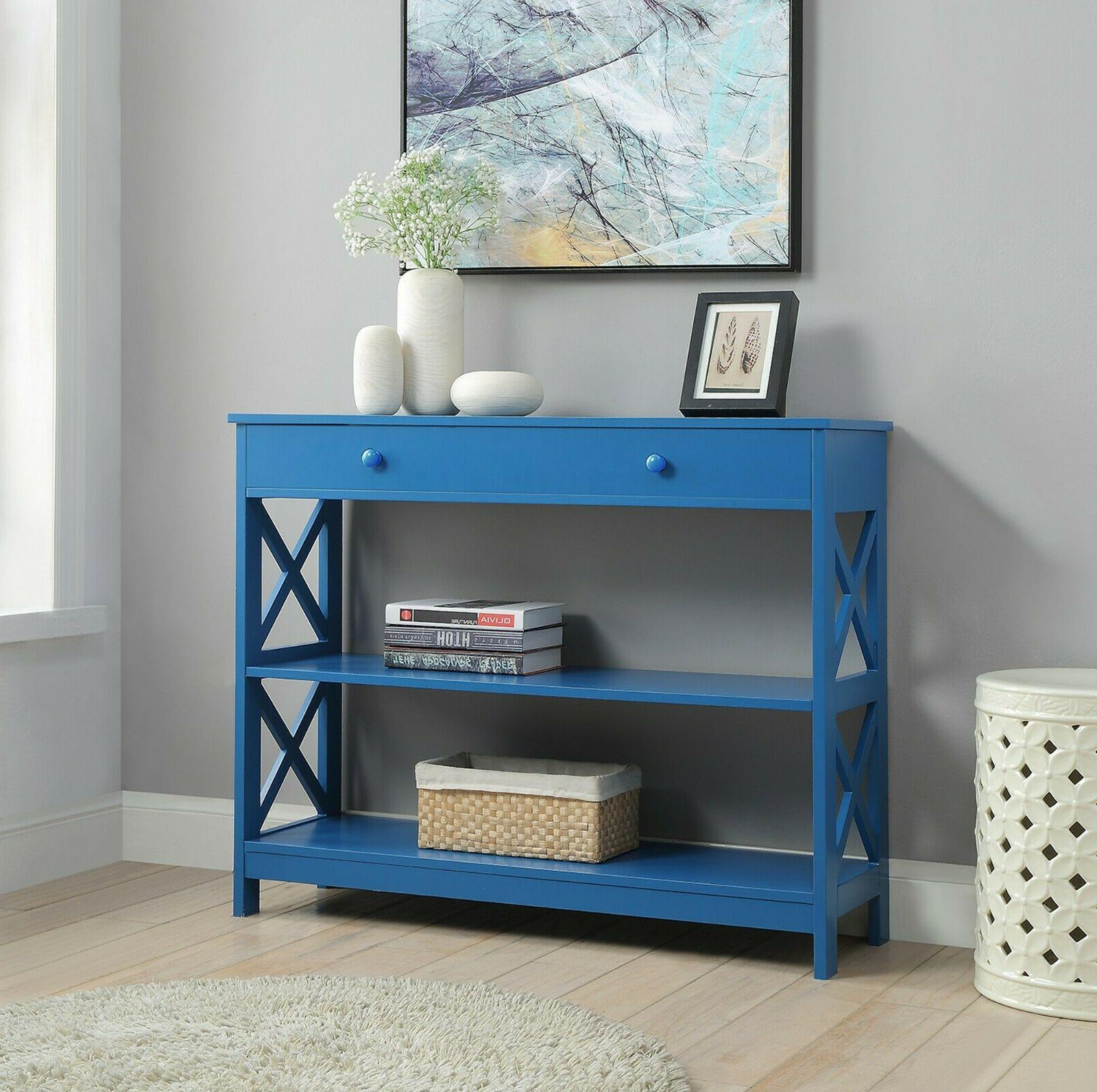 Oxford Console Accent Hall Table Shelves BLUE