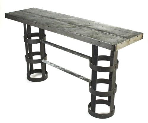 recycled metal cylinder console table