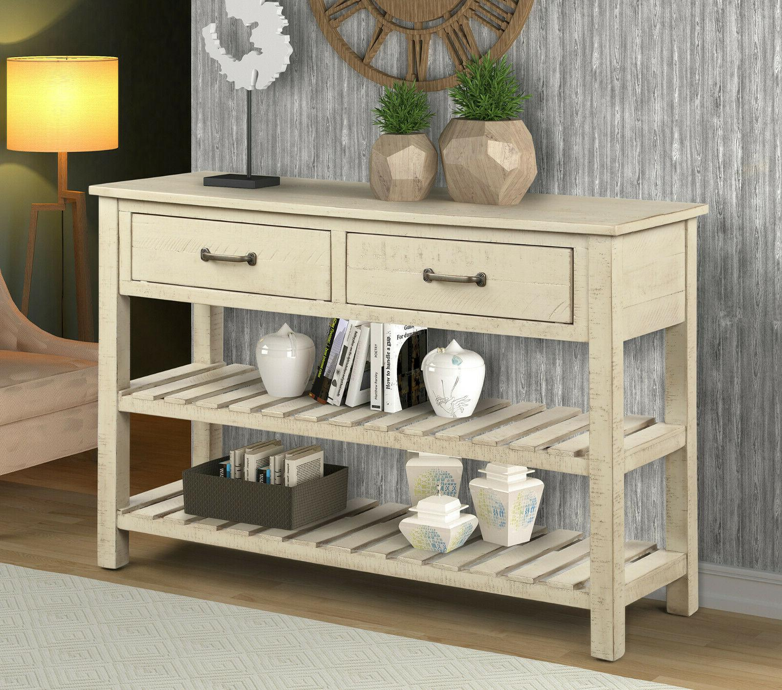 Retro Console Table Entryway with and Shelf Living US