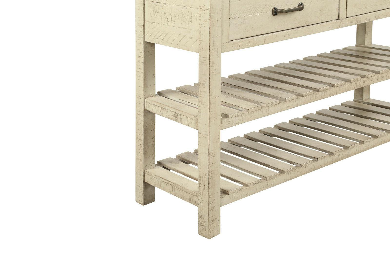 Retro Table for Entryway with Drawers and Shelf Living Room US
