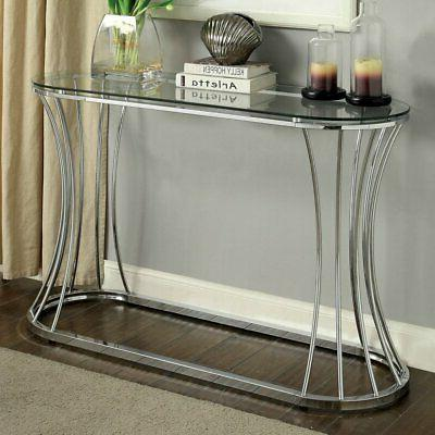 Furniture of America Rocca Curved Chrome Console Table