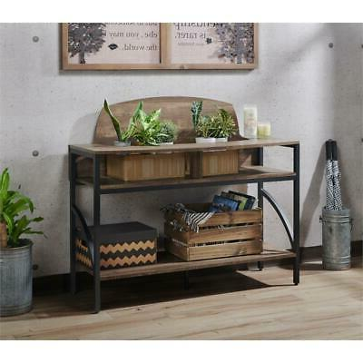 Furniture of America Modern Console Table Reclaimed Oak