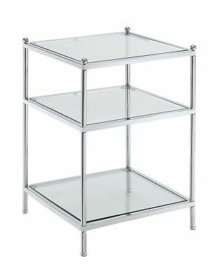 royal crest collection end table chrome glass