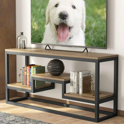 3Tier TV Stand Rustic Entertainment Center with Shelves Home