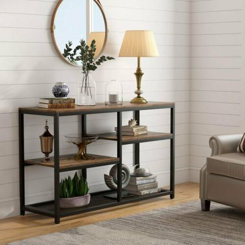 Versatile Retro Style Console Table with Shelf or Drawer TV