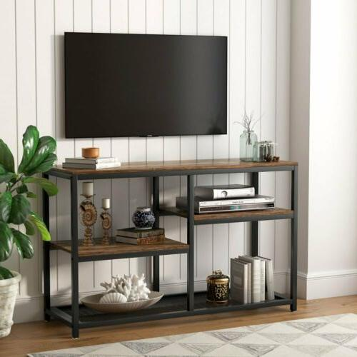 Industrial Media Stand Console Table with Lower Storage Shel