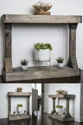 rustic console accent table distressed gray display