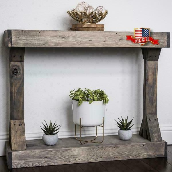 Rustic Console Accent Solid Wood Gray Display Shelf Sofa Entry