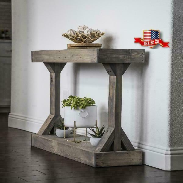 Rustic Console Accent Table Solid Wood Distressed Gray Display