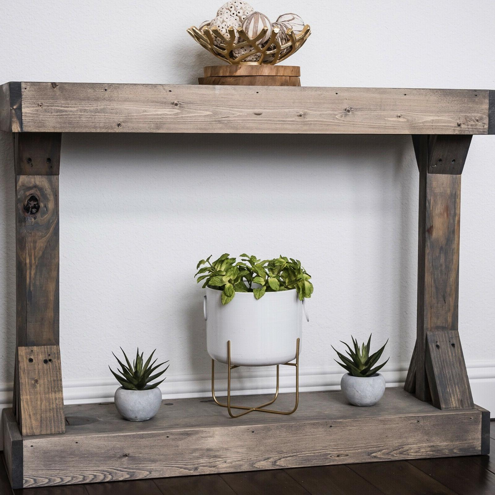 Rustic Console Solid Distressed Display Shelf