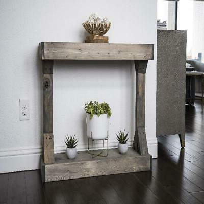 Rustic Solid Wood Distressed Gray Display Shelf Sofa