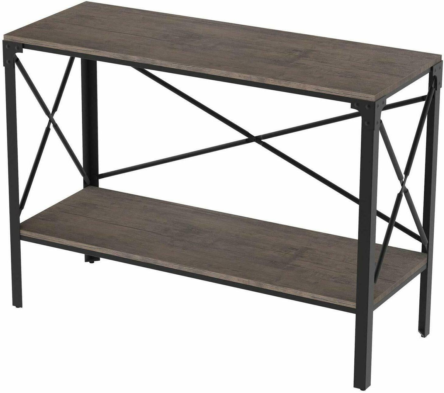 IRONCK Rustic Console Table 2 Tier, Entryway Table with Stor