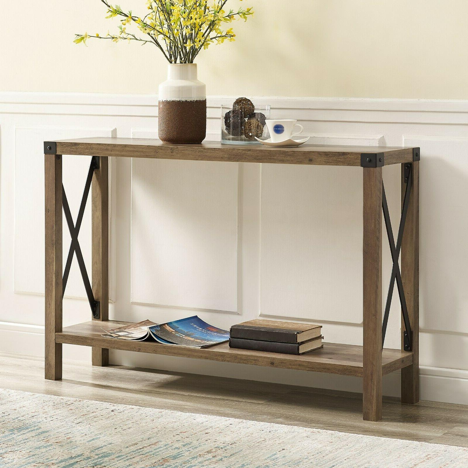Rustic Console Table Narrow Foyer Crossed Accents