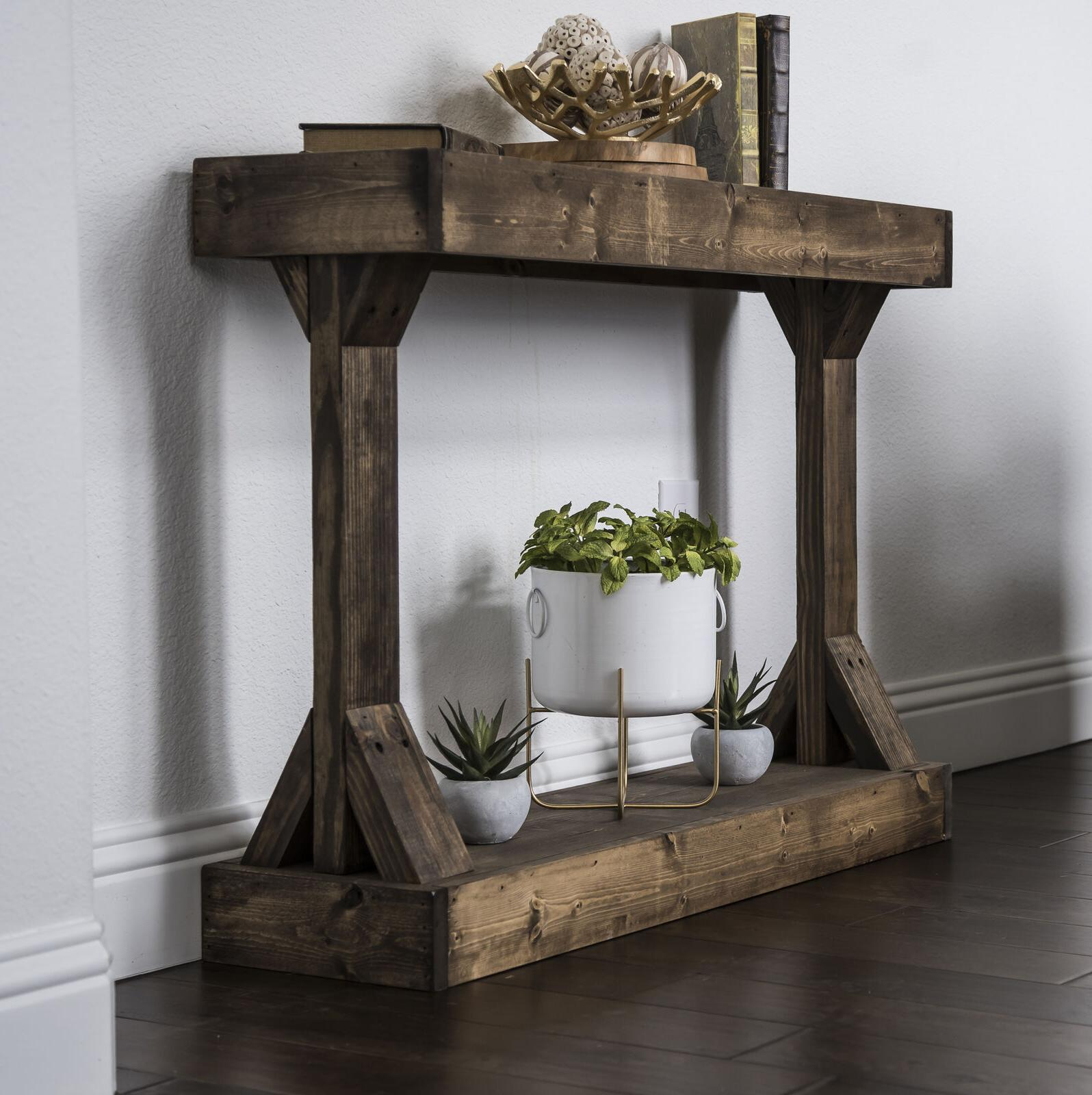 Farmhouse Console Table Rustic Solid Wood Living Room Entryw