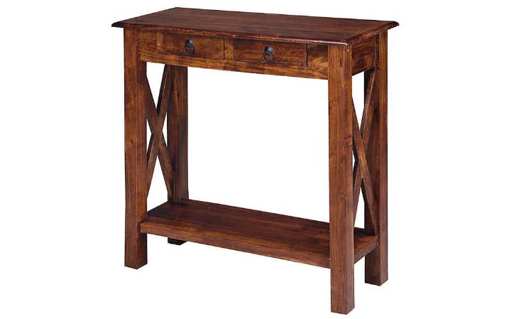 rustic console table w storage drawer dark