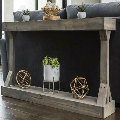 Rustic Wood Distressed Console Accent Table Solid Gray Displ