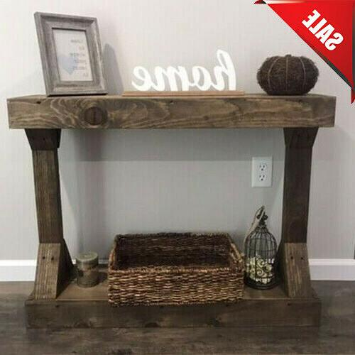 rustic farmhouse console table solid wood shelf