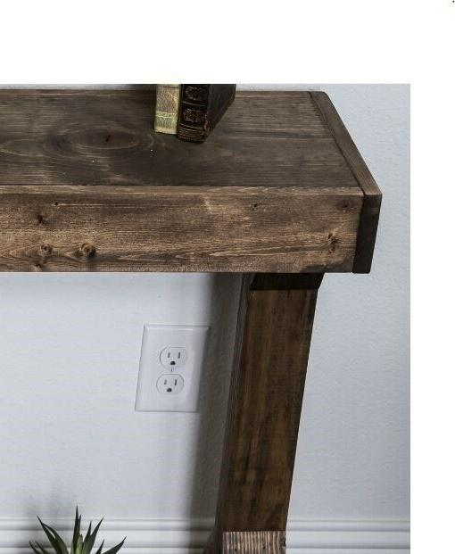 Rustic Farmhouse Console Table Solid Sofa Accent Entryway Hall